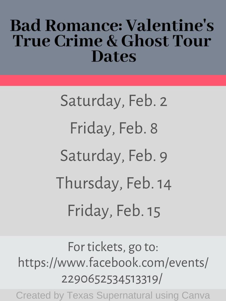 Bad Romance Valentine's True Crime & Ghost Tour February Dates